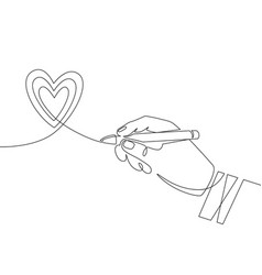 hand pen and heart continuous one line vector image