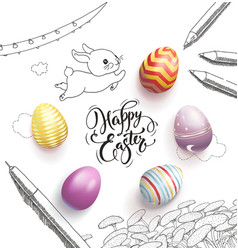 happy easter lettering handwritten vector image