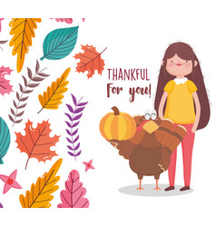 Happy thanksgiving day woman with turket and vector