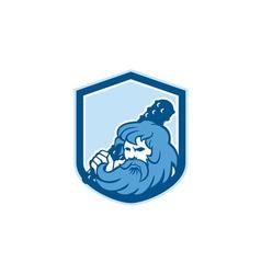 Hercules Wielding Club Shield Retro vector image
