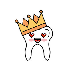 human tooth with crown kawaii character vector image