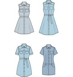 Jean dress set vector