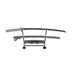 Katana icon in black style isolated on white vector