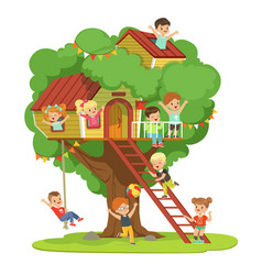 Kids having fun in the treehouse childrens vector
