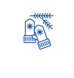 knitted christmas mittens line icon concept vector image