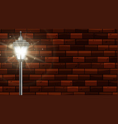 Lamppost with bright light on brick wall vector
