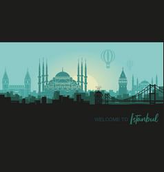Landscape turkish city istanbul vector