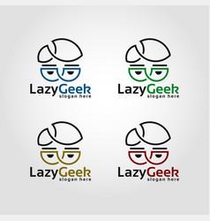 lazy geek - line art style nerd logo vector image