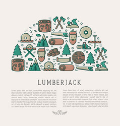 logging and lumberjack concept in half circle vector image