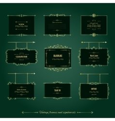 Luxury golden frames and signboards set vector image
