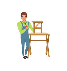 Male professional carpenter building wooden chair vector