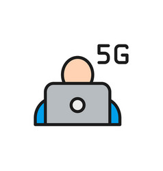man at laptop with 5g internet flat color line vector image