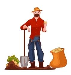 Man harvesting potato in the field vector image vector image