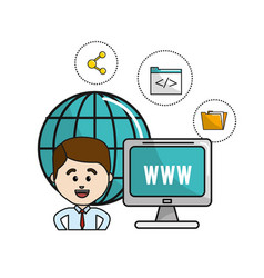 Man with global computer connect service and vector
