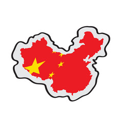 map of china with its flag vector image