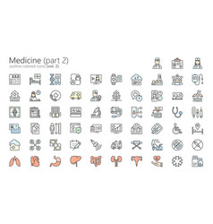 medicine colored outline iconset part 2 vector image