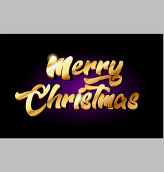 Merry christmas 3d gold golden text metal logo vector