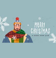 merry year happy winter man banner vector image