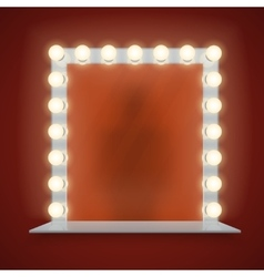 Mirror in bulbs frame with makeup table vector