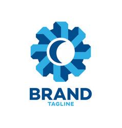 modern 3d gear logo vector image