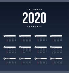 modern calendar 2020 background template vector image