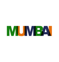 Mumbai phrase overlap color no transparency vector