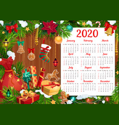 New year calendar with christmas gifts xmas tree vector