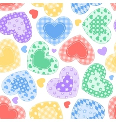 Patchwork hearts on the white vector image