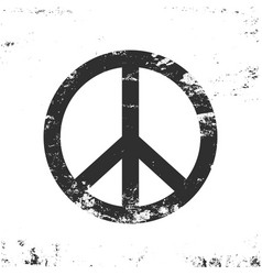 peace symbol with grunge texture black and white vector image