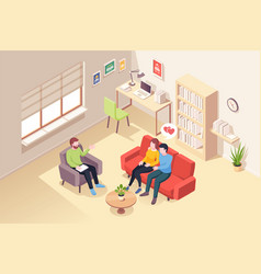 people at psychologist counseling young couple vector image