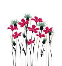 pink flowers and thistles on a white background vector image