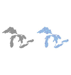 Pixel great lakes map abstractions vector