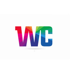 Rainbow colored alphabet combination letter wc w vector