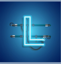 Realistic neon character with wires and console vector