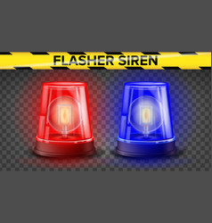 red and blue flasher siren 3d realistic vector image