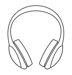retro headphones icon outline style vector image