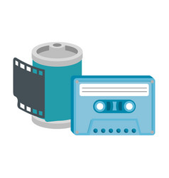Roll camera nineties with cassette isolated vector