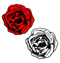 Rose in tattoo style design element for logo vector
