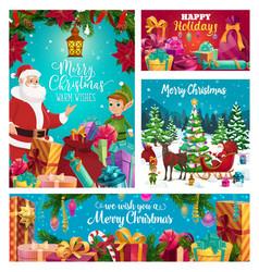 santa claus and elf helper winter holidays vector image