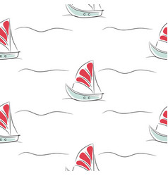 seamless pattern with boats on white simple vector image