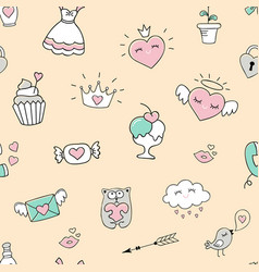 seamless pattern with hearts and love doodles vector image