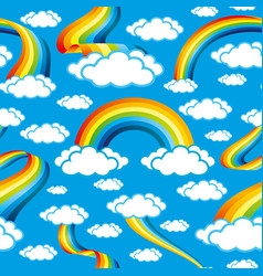 Seamless pattern with rainbows vector