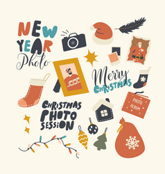 set icons new year and christmas photo session vector image