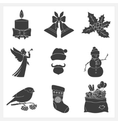 Set Monochrome Silhouettes Christmas Icons vector image
