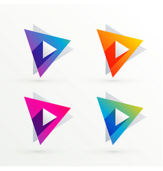 set of triangle banners in four colors vector image
