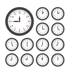 Set round clocks for every hour analog clock vector