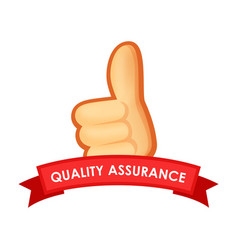 Sign quality assurance - emblem with thumb up vector