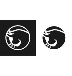 Silhouette of an bull monochrome logo vector