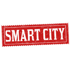 smart city grunge rubber stamp vector image