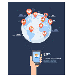 social network global communication flat vector image